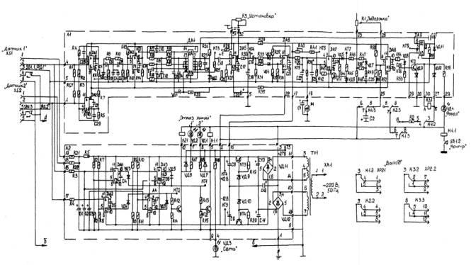 """Рисунок 14 - Принципиальная электрическая схема устройства индикации наличия факела в топке котла  """"Факел-3М """" ."""