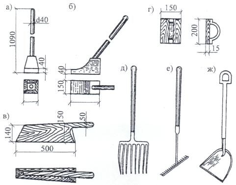 е) грабли; ж) лопата