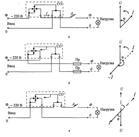 Схема подключения однофазного счетчика.
