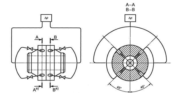 При измерении расхода газа давление среды...  При применении нескольких взаимно соединенных отверстий для отбора...