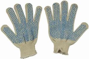 Перчатки вязаные Х/Б, с ПВХ