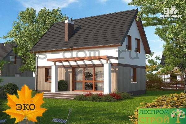 Фото 2: проект дом каркасный с террасой на заднем дворе