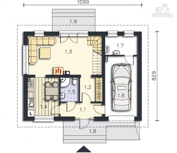 Фото 9: проект дом каркасный со встроенным гаражом