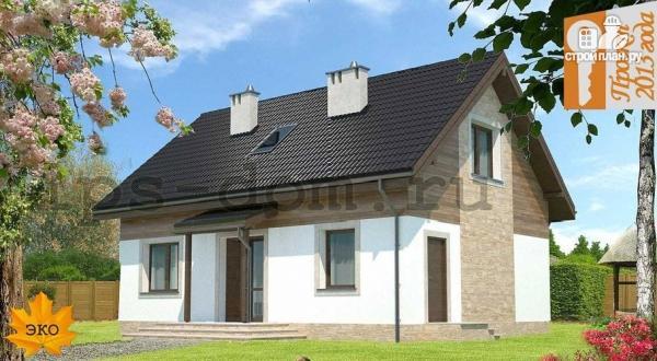 Фото: проект каркасный дом с камином и террасой