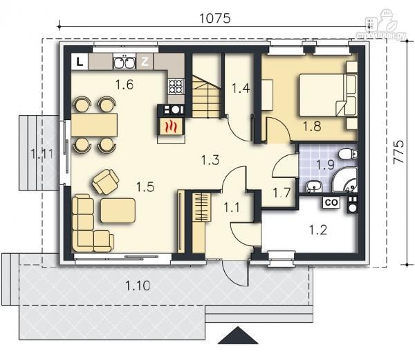 Фото 13: проект каркасный дом с совмещённой гостиной и кухней