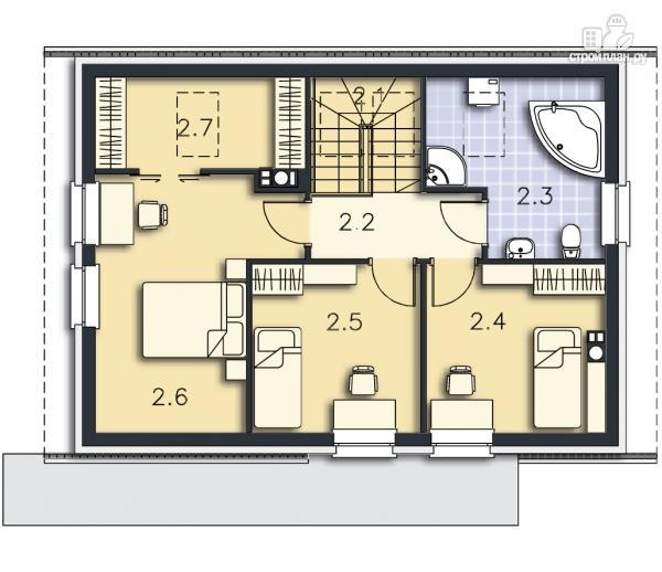 Фото 14: проект каркасный дом с совмещённой гостиной и кухней