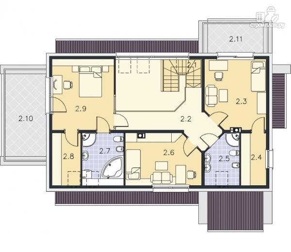 Фото 10: проект каркасный дом со вторым светом в гостиной