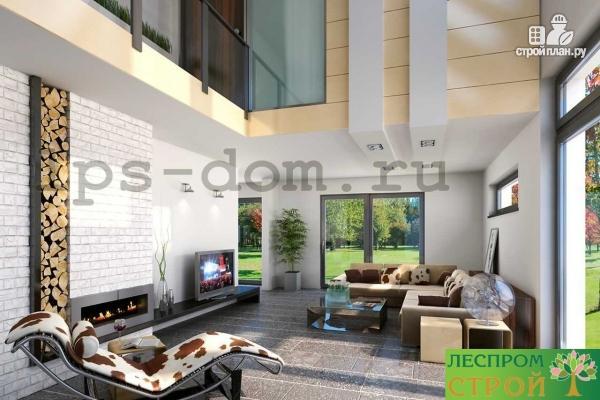 Фото 12: проект каркасный дом со вторым светом в гостиной