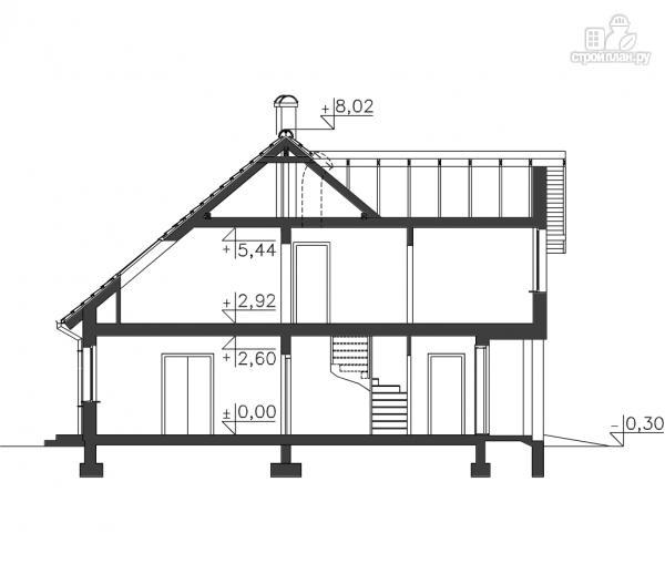 Фото 11: проект каркасный дом с террасой, балконом и гаражом