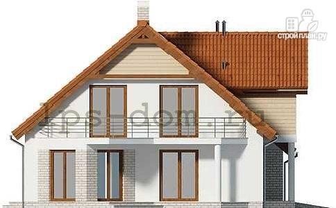 Фото 6: проект каркасный дом с террасой, балконом и гаражом