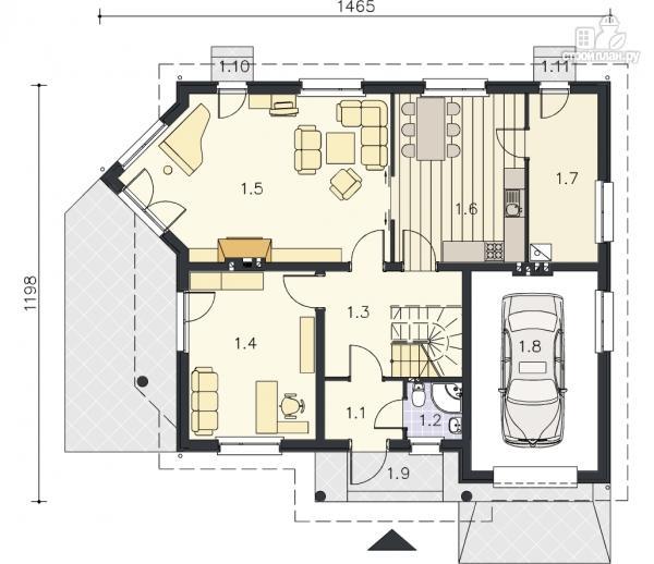 Фото 9: проект каркасный дом с террасой, балконом и гаражом