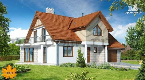Фото: проект каркасный дом с террасой, балконом и гаражом