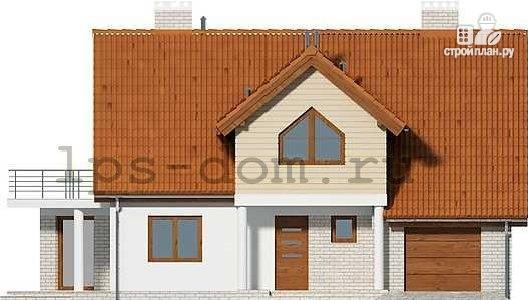 Фото 4: проект каркасный дом с террасой, балконом и гаражом