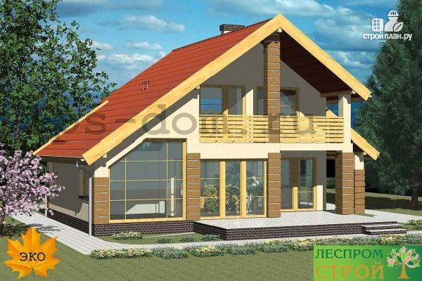 Фото 4: проект каркасный дом с навесом для машины