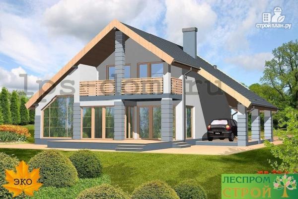 Фото 2: проект каркасный дом с навесом для машины