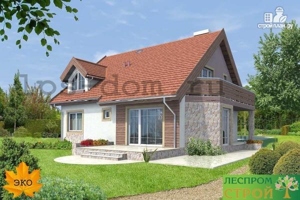 Фото 2: проект дом каркасный, с балконом
