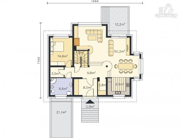 Фото 12: проект трехэтажный каркасный дом с гаражом в цоколе