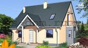 Проект каркасный дом с эркером и балконом