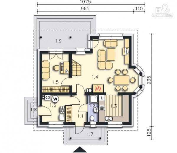 Фото 9: проект каркасный дом с эркером и балконом