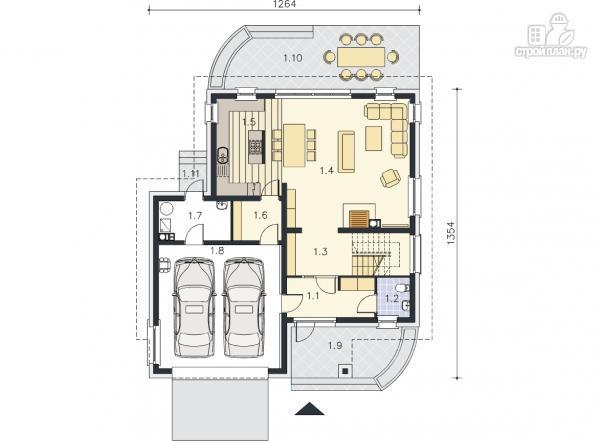 Фото 9: проект современный каркасный дом с гаражом на две машины