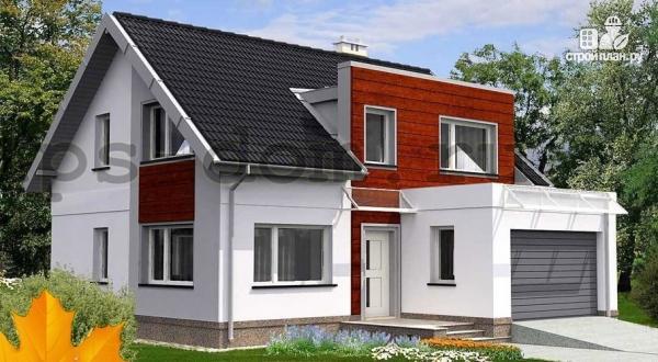 Фото: проект каркасный дом модерн с гаражом