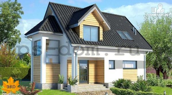 Фото: проект дом каркасный с эркером и террасой