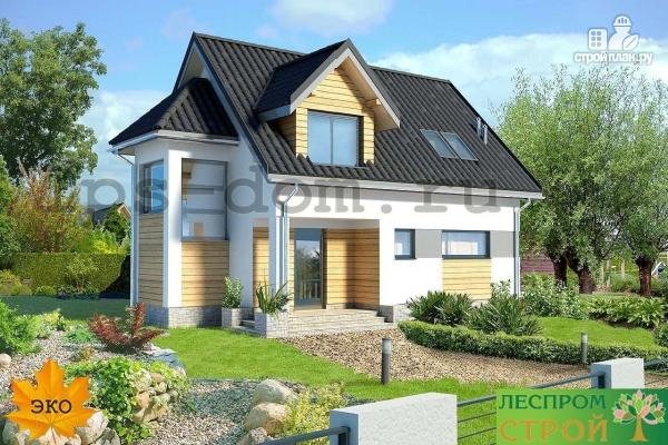 Фото 3: проект дом каркасный с эркером и террасой