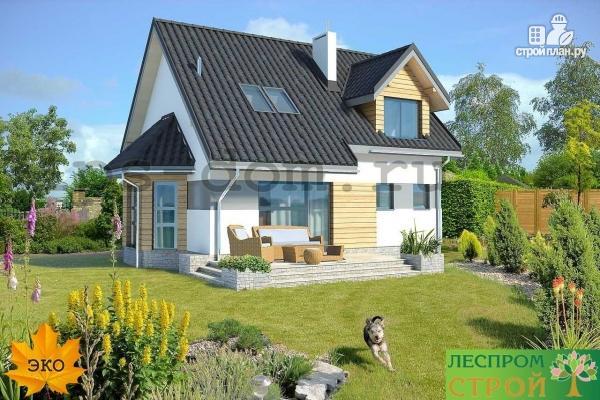 Фото 2: проект дом каркасный с эркером и террасой