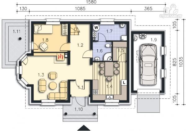Фото 9: проект каркасный дом с балконами и гаражом