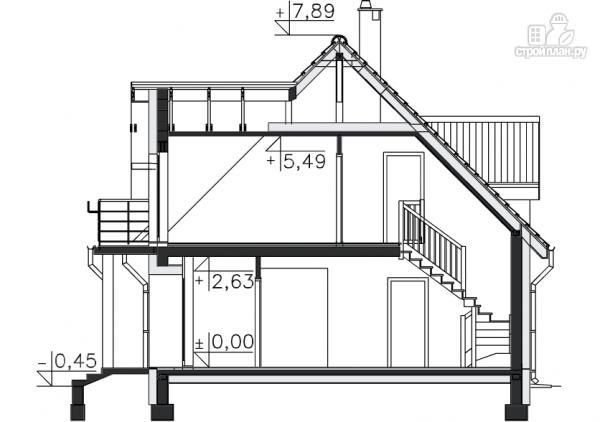 Фото 11: проект каркасный дом с балконами и гаражом