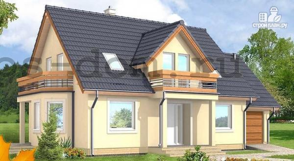Фото: проект каркасный дом с балконами и гаражом