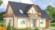 Проект каркасный дом с балконами и гаражом