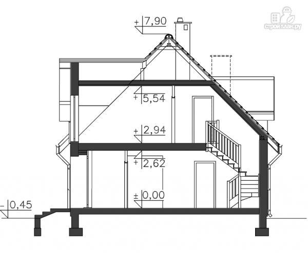 Фото 11: проект каркасный дом с навесом для машины