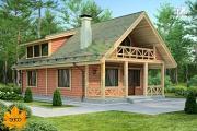 Фото: каркасный дом с камином в гостиной