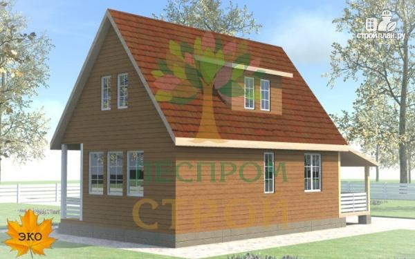 Фото 3: проект каркасный дом с большой террасой