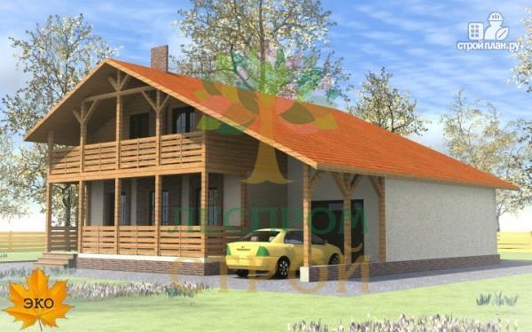 Каркасный дом с балконом, навесом, террасой и гаражом, проек.