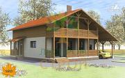 Проект каркасный дом с балконом, навесом, террасой и гаражом