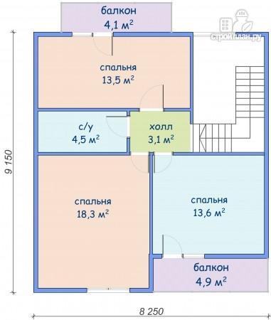 Фото 7: проект дом каркасный с сауной и двумя балконами
