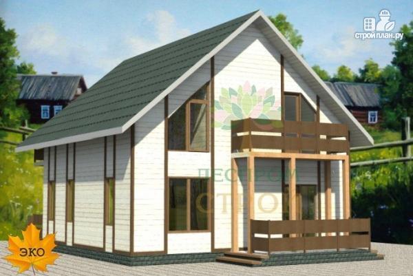 Фото: проект дом каркасный с сауной и двумя балконами