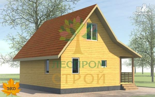 Фото 4: проект каркасный дом 6х8 с террасой