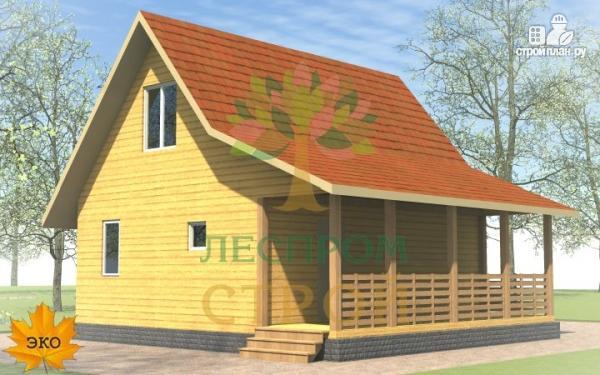 Фото 2: проект каркасный дом 6х8 с террасой