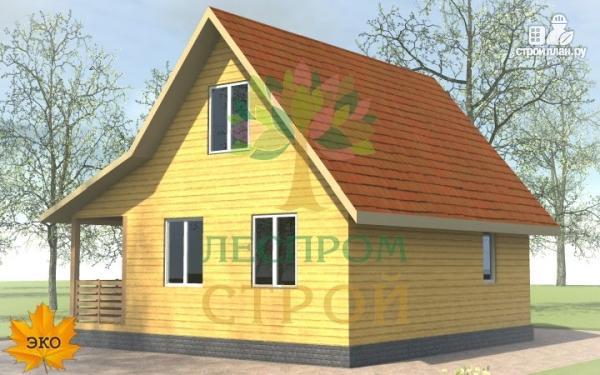 Фото 3: проект каркасный дом 6х8 с террасой