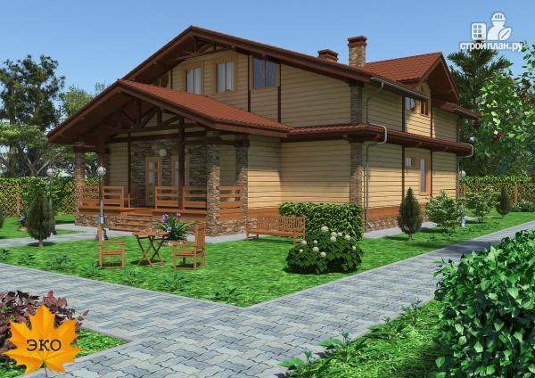Фото 2: проект каркасный дом с сауной и вторым светом в гостиной