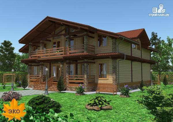 Фото: проект каркасный дом с сауной и вторым светом в гостиной