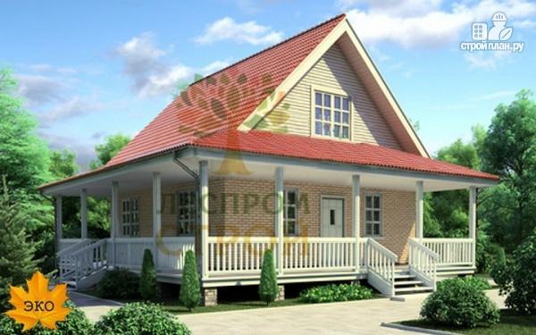 Фото: проект каркасный дом с длинной угловой террасой