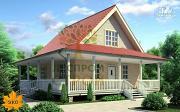 Проект каркасный дом с длинной угловой террасой