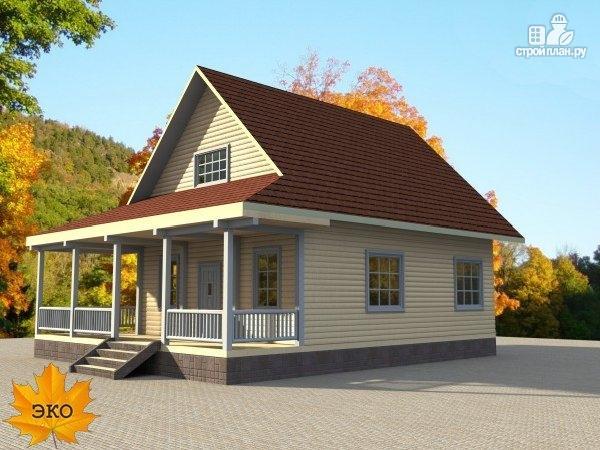 Фото 3: проект каркасный дом с длинной угловой террасой