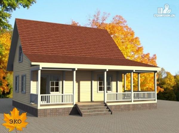 Фото 2: проект каркасный дом с длинной угловой террасой