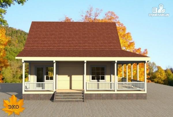 Фото 5: проект каркасный дом с длинной угловой террасой