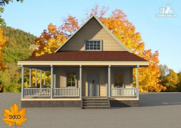 Фото 4: проект каркасный дом с длинной угловой террасой
